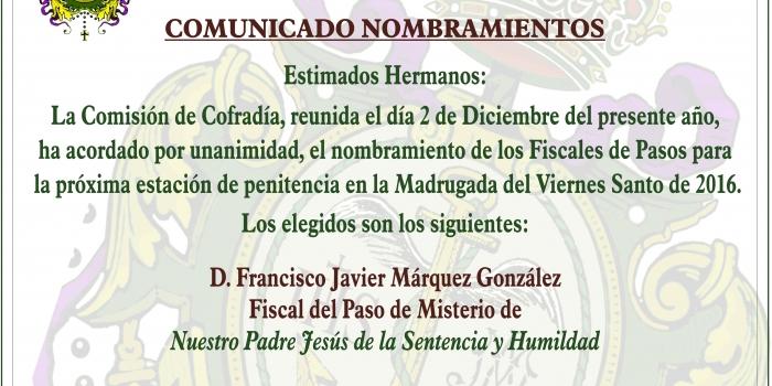 COMUNICADO OFICIAL NOMBRAMIENTO FISCALES DE PASOS 2016