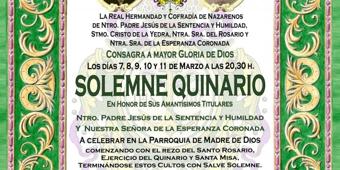 CONVOCATORIA, SOLEMNE QUINARIO Y FUNCIÓN PRINCIPAL DE INSTITUTO